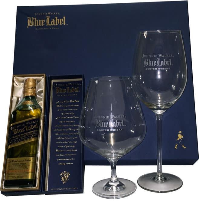 Johnnie walker blue label 20 cl 2 copas comprar whisky for Copas para whisky