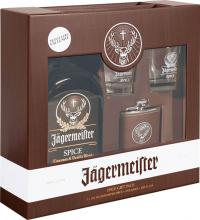 Jagermeister Spice 1 Liter + 2 Glasses + Hip Flask