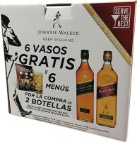 Johnnie Walker Red + Johnnie Walker Black + 6 Vasos