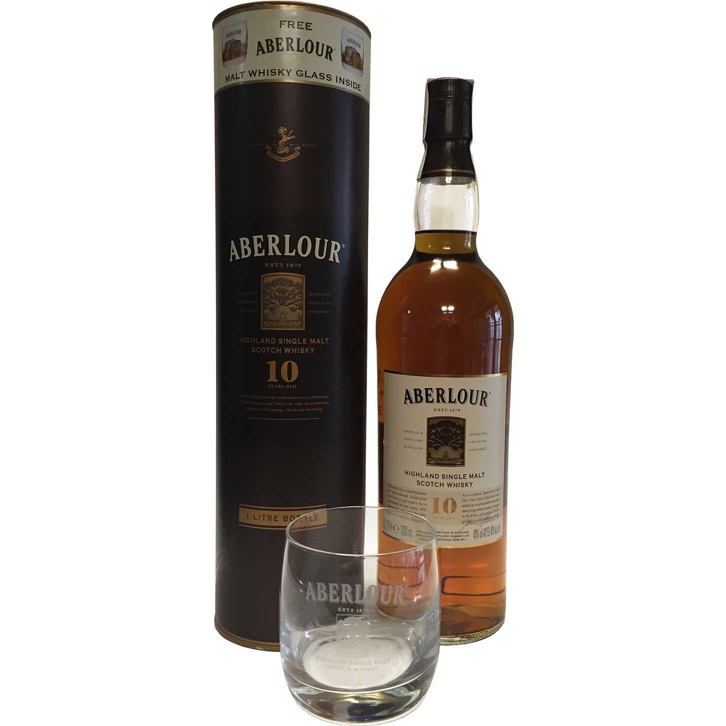 Aberlour 10 Jahre 1 Liter + Malt Whisky Glas (Speyside) - Kaufen ...