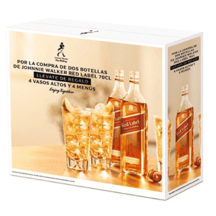 Johnnie Walker Red Label 2 Bottles + 4 Glasses